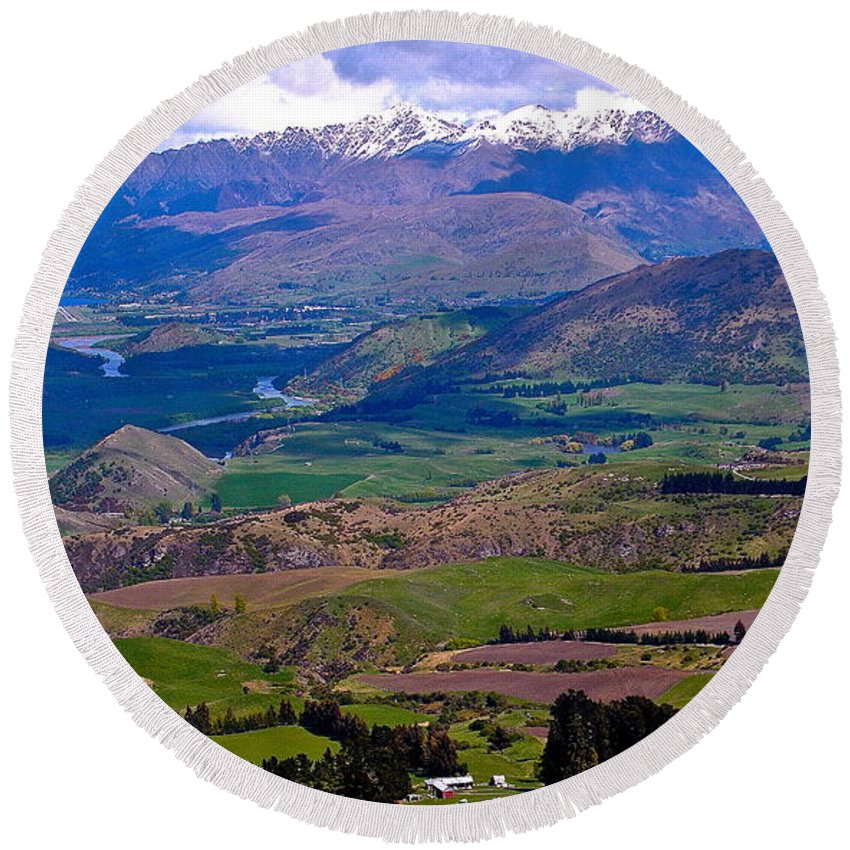New Zealand Round Beach Towel featuring the photograph Valley Views by Cheryl Cutler