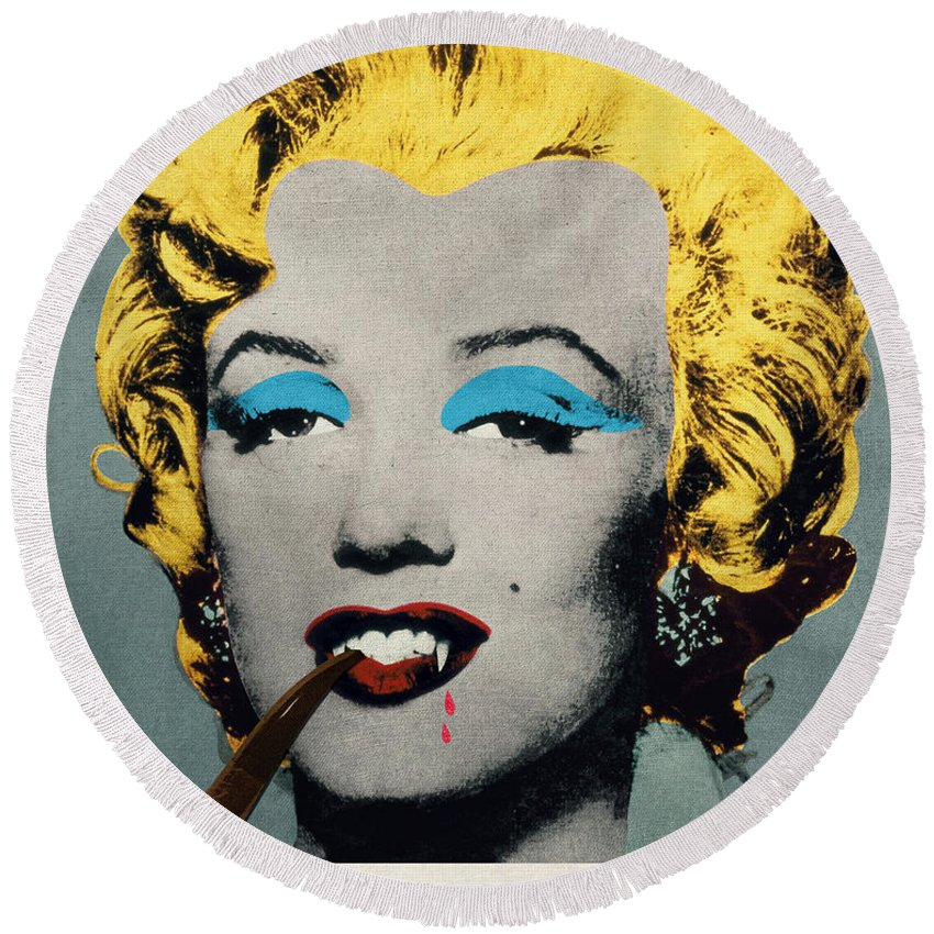 Pop Round Beach Towel featuring the digital art Vampire Marilyn With Surreal Pipe by Filippo B