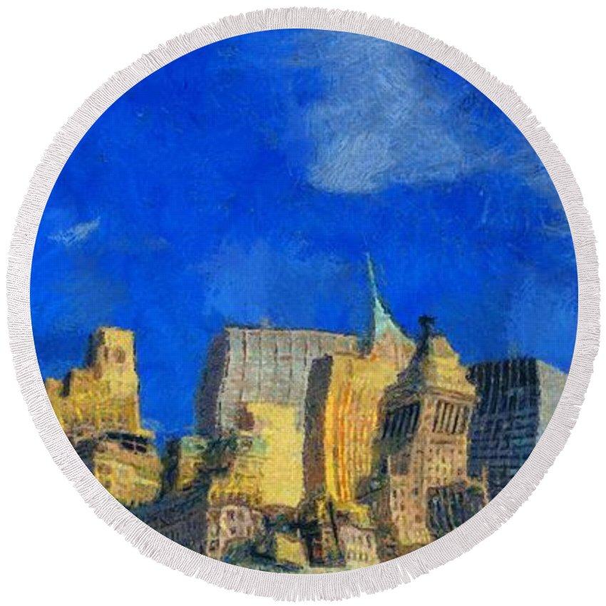 Van Gogh Meets Manhattan Round Beach Towel featuring the painting Van Gogh Meets Manhattan by Dan Sproul