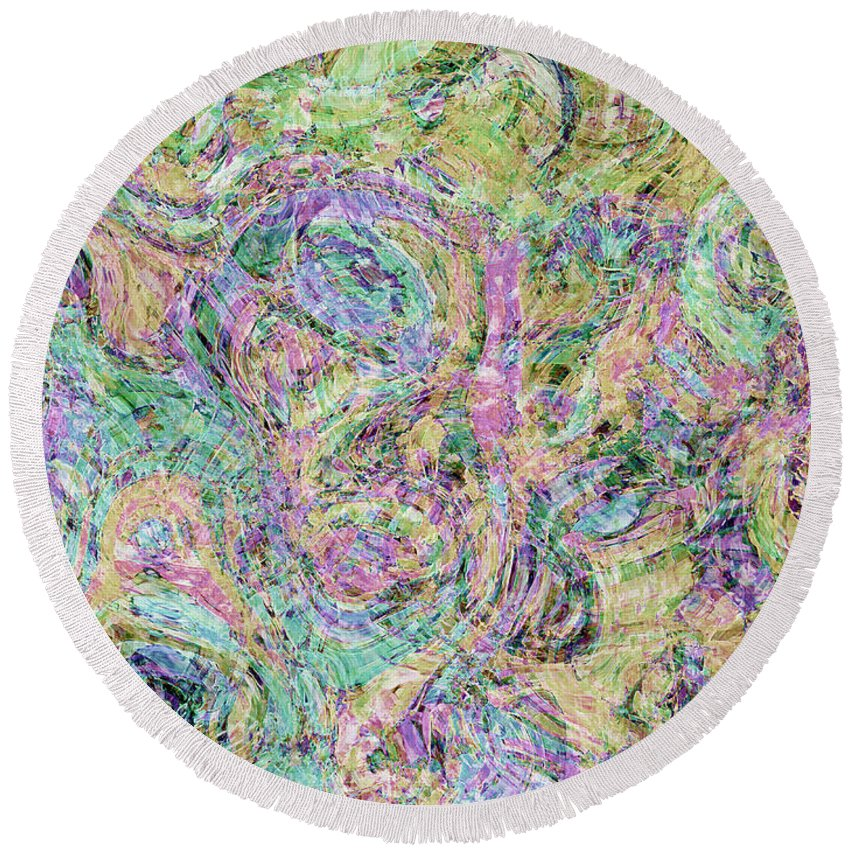 Abstract Round Beach Towel featuring the digital art Van Gogh Style Abstract I by Debbie Portwood