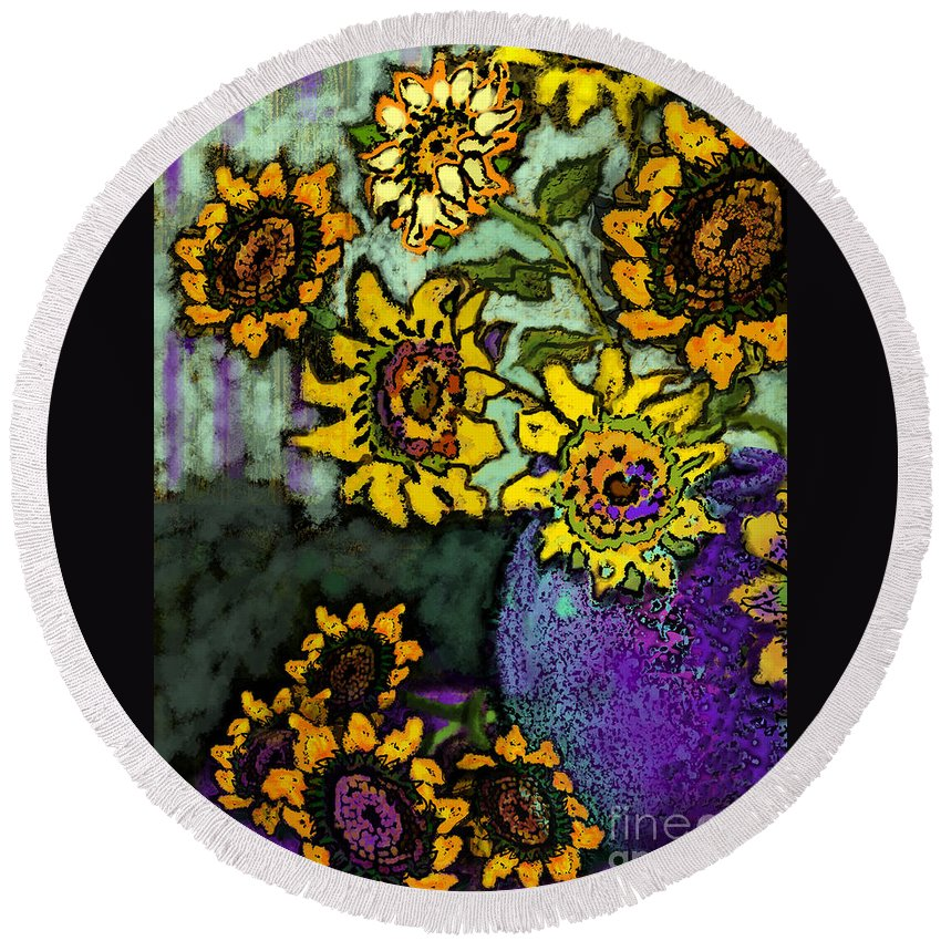 Vincent Round Beach Towel featuring the digital art Van Gogh Sunflowers Cover by Carol Jacobs