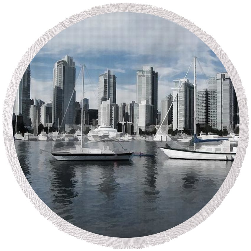 Skyline Round Beach Towel featuring the photograph Vancouver Harbour by Mickey At Rawshutterbug