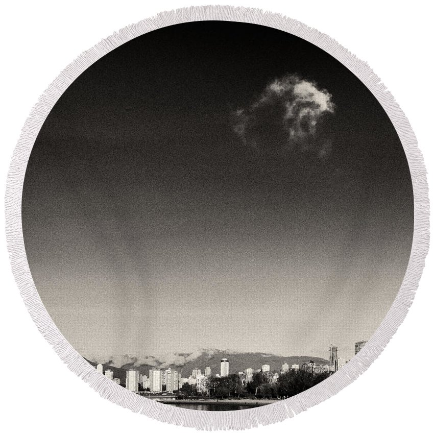English Bay Round Beach Towel featuring the photograph Vancouver Skyline Acloud Over English Bay by Peter v Quenter