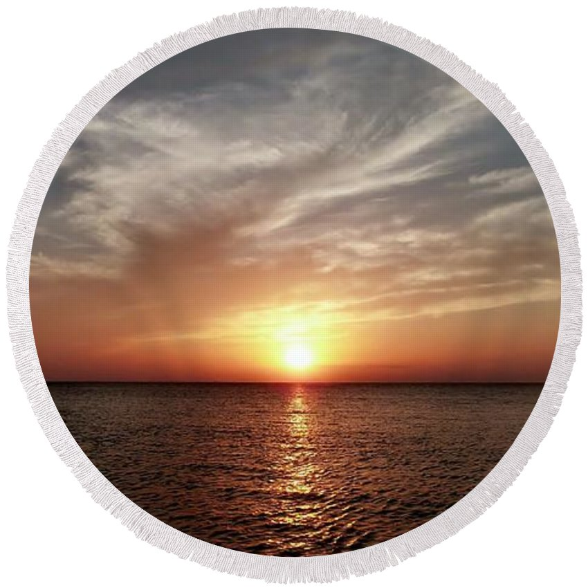 Color Round Beach Towel featuring the photograph Vanilla Sky by Amar Sheow