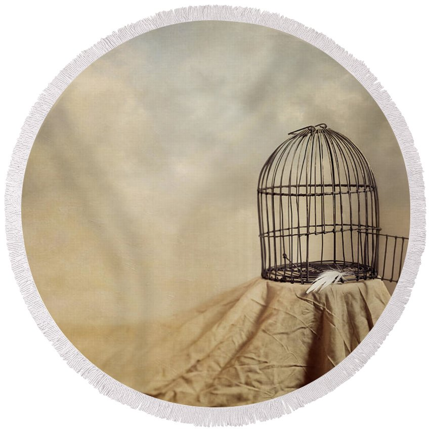 Cage Round Beach Towel featuring the photograph Vanishing Act by Amy Weiss