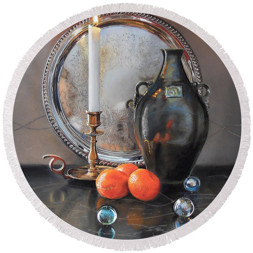 Art Round Beach Towel featuring the painting Vanitas Still Life By Candlelight With Clementines 1 by Carolyn Coffey Wallace