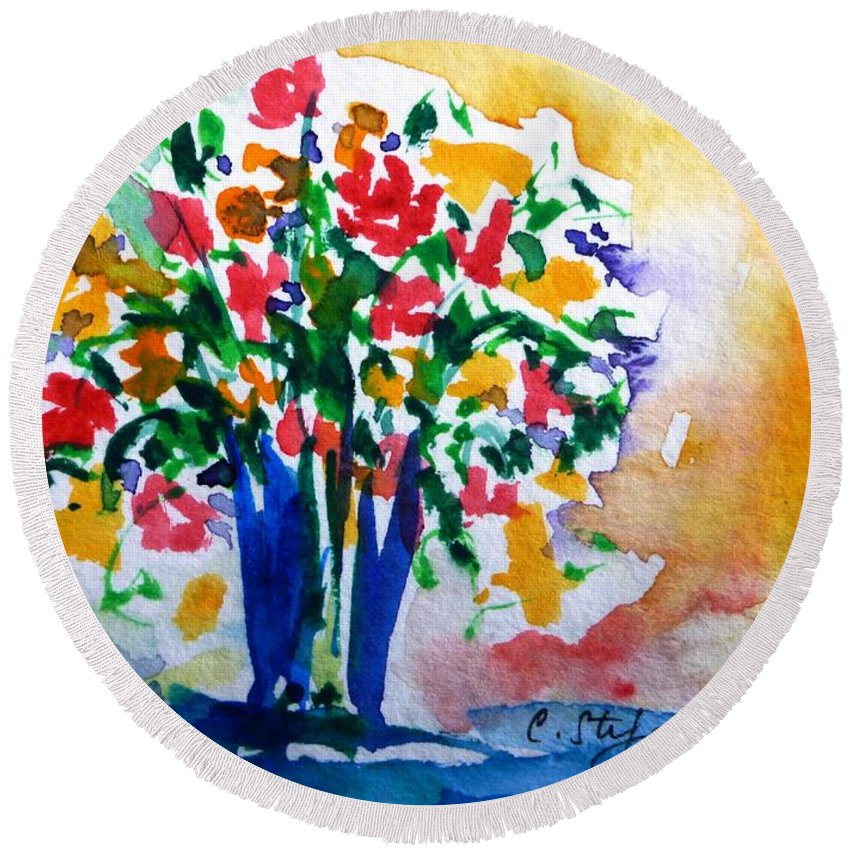 Vase Round Beach Towel featuring the painting Vase With Flowers by Cristina Stefan