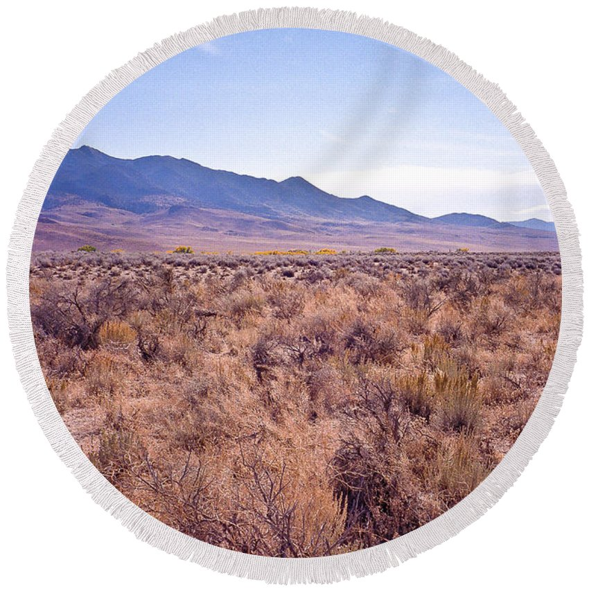 Desert Round Beach Towel featuring the photograph Vast Desolate And Silent - Lyon Nevada by John Waclo