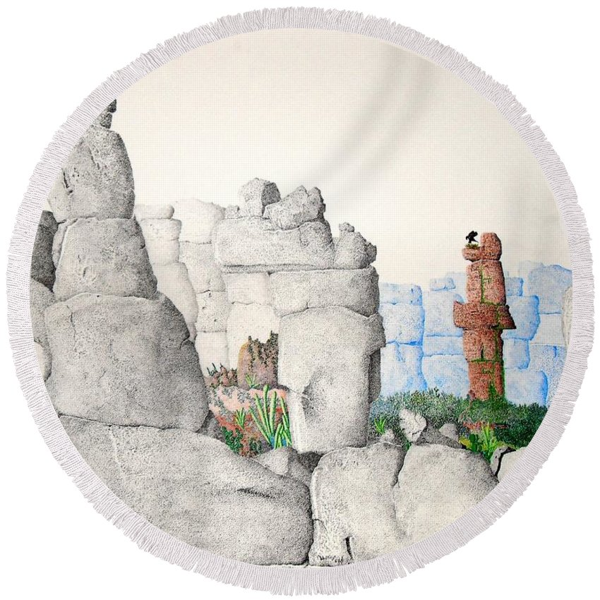 Landscape Round Beach Towel featuring the painting Vaulting by A Robert Malcom