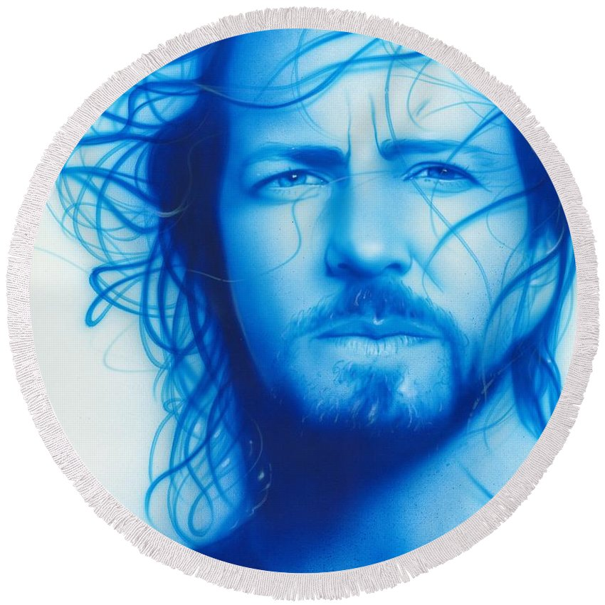 Seattle Round Beach Towel featuring the painting Vedder by Christian Chapman Art