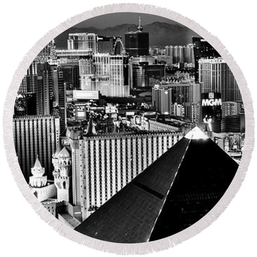 Las Vegas Round Beach Towel featuring the photograph Vegas Black And White by Benjamin Yeager