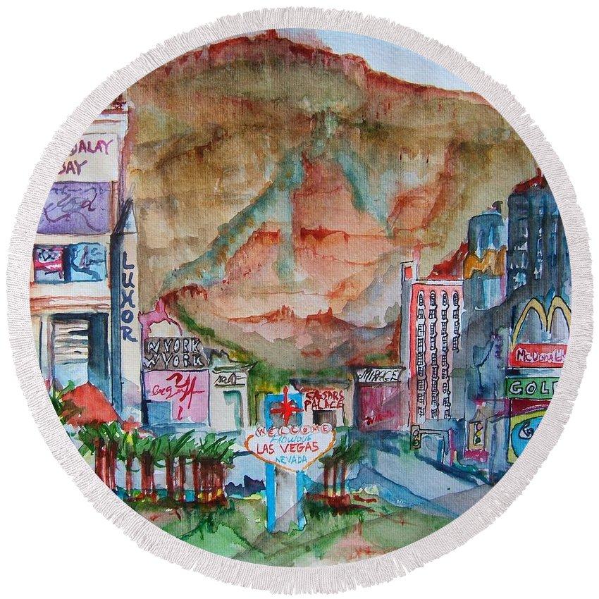 Las Vegas Round Beach Towel featuring the painting Vegas by Elaine Duras