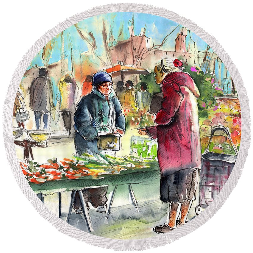 Travel Round Beach Towel featuring the painting Vegetables Seller In A Provence Market by Miki De Goodaboom