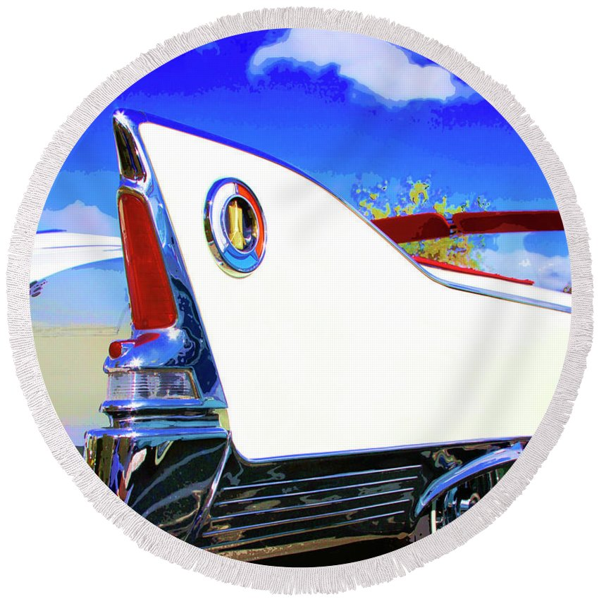 Car Auction Round Beach Towel featuring the photograph Vehicle Launch Palm Springs by William Dey