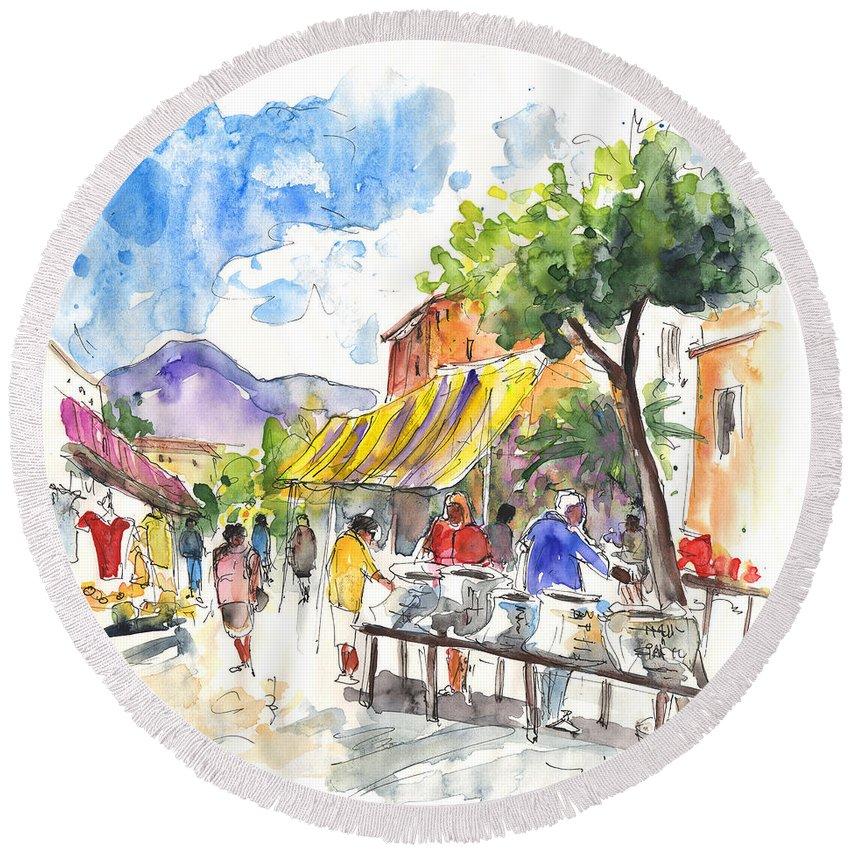 Travel Round Beach Towel featuring the painting Velez Rubio Market 02 by Miki De Goodaboom