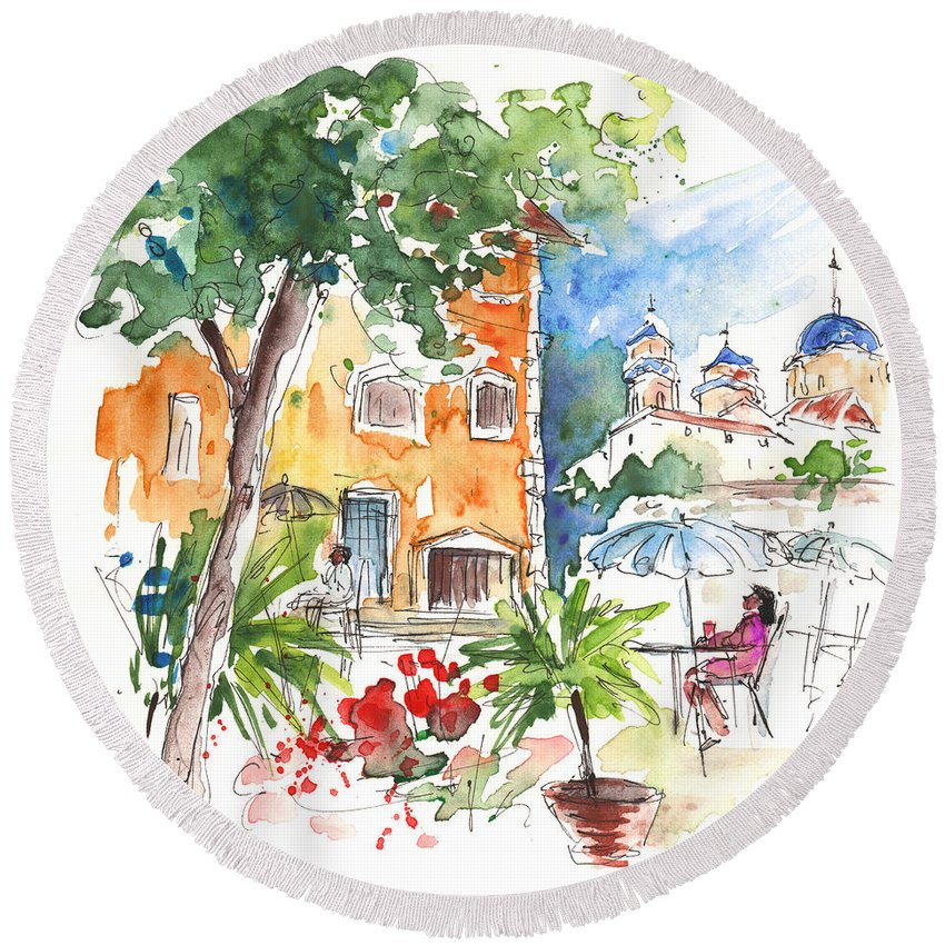 Travel Round Beach Towel featuring the painting Velez Rubio Townscape 03 by Miki De Goodaboom