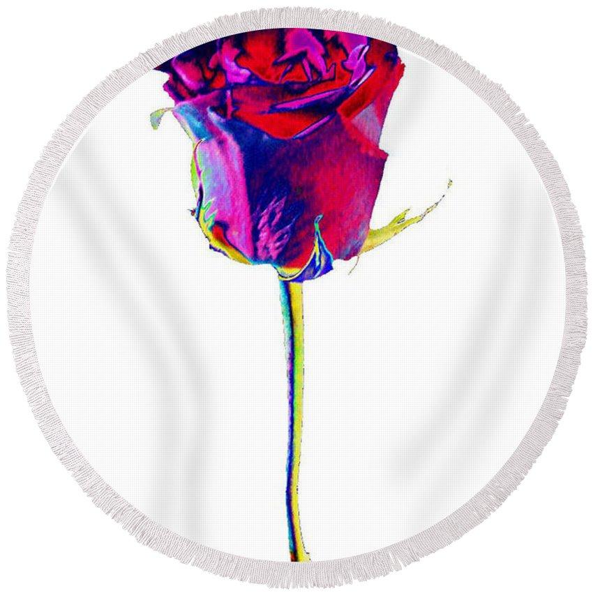 Velvet Round Beach Towel featuring the digital art Velvet Rose Bud by Carol Lynch