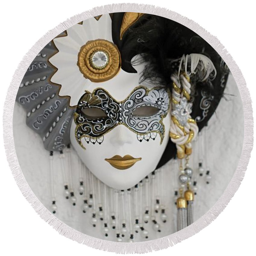 Jester Round Beach Towel featuring the photograph Venetian Mask by FL collection