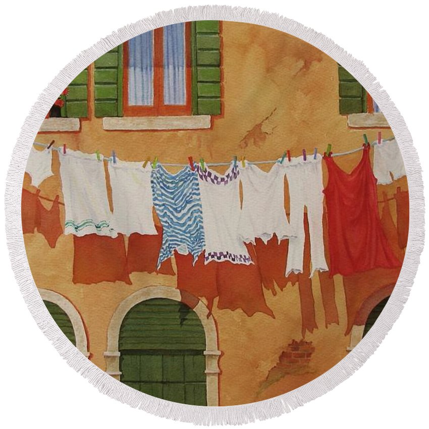 Venice Round Beach Towel featuring the painting Venetian Washday by Mary Ellen Mueller Legault