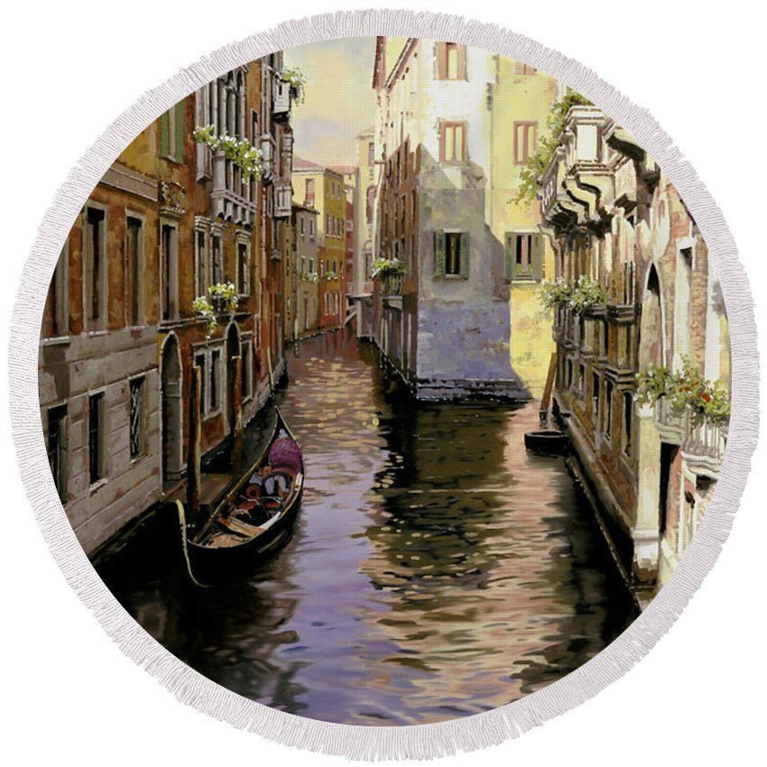 Venice Round Beach Towel featuring the painting Venezia Chiara by Guido Borelli