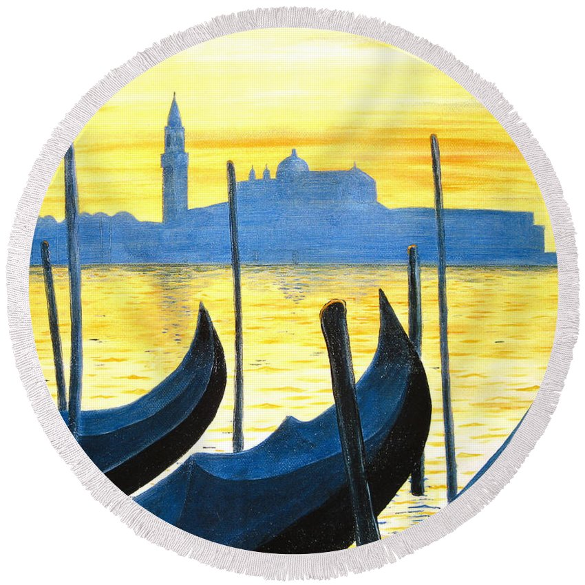Venice Round Beach Towel featuring the painting Venezia Venice Italy by Jerome Stumphauzer