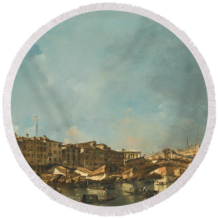 Francesco Guardi Round Beach Towel featuring the painting Venice A View Of The Rialto Bridge Looking North From The Fondamenta Del Carbon by Francesco Guardi
