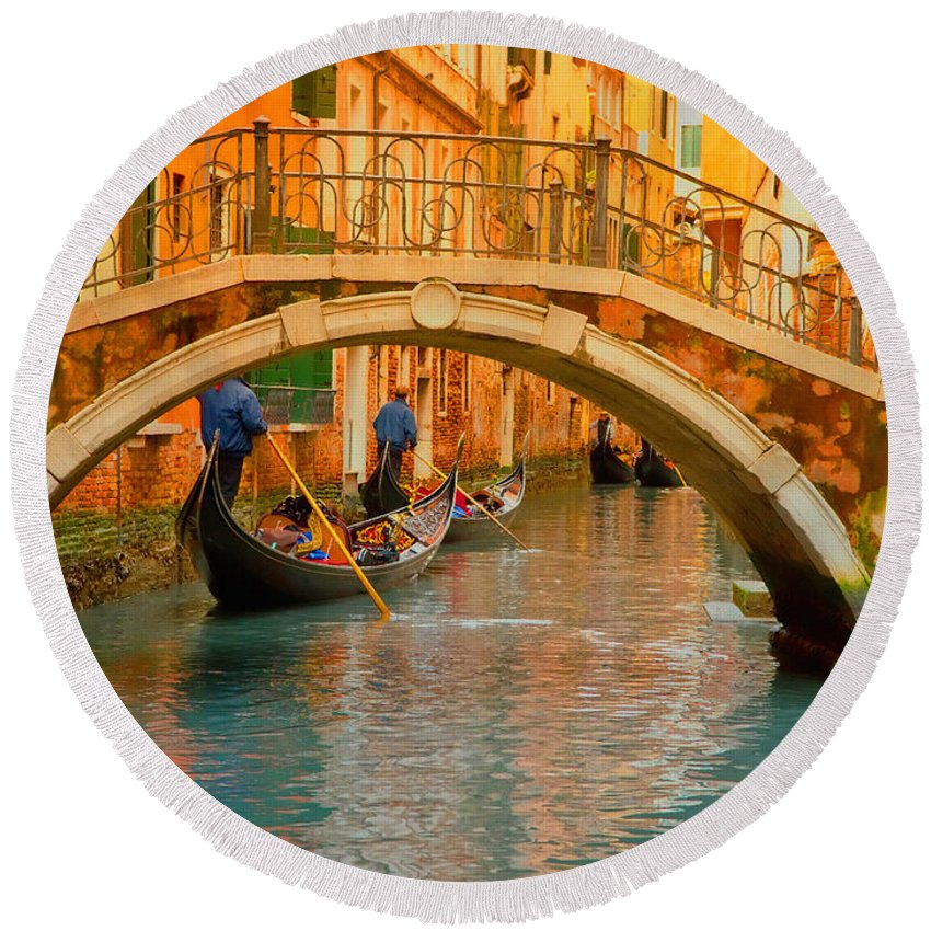 Landscape Round Beach Towel featuring the digital art Venice Boat Bridge Oil On Canvas by Don Kuing