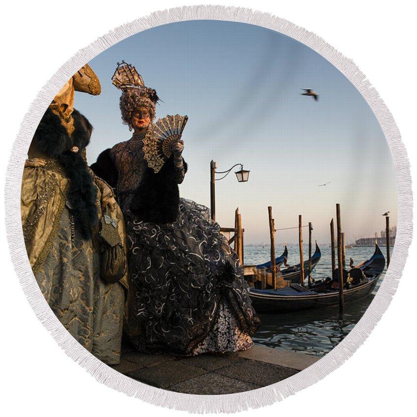 Venice Carnival Round Beach Towel featuring the photograph Venice Carnival '15 IIi by Yuri San