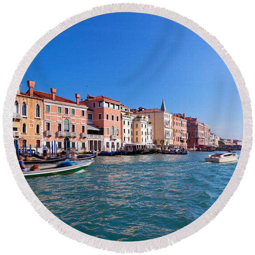 Venice Round Beach Towel featuring the photograph Venice Grand Canal View Italy by Michal Bednarek