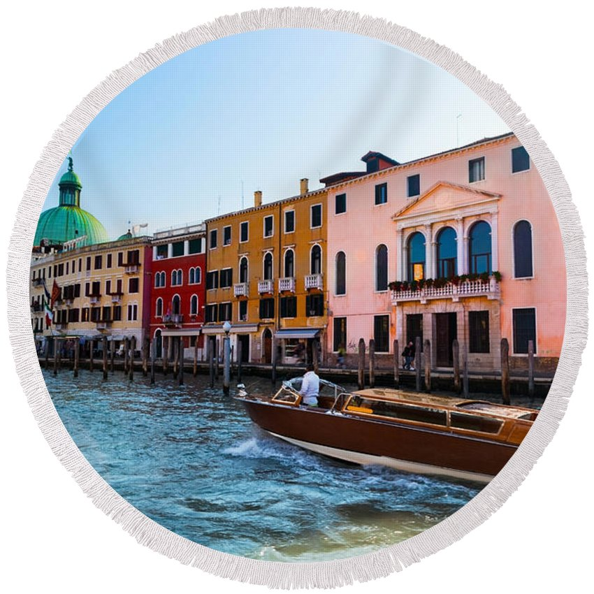 Venice Round Beach Towel featuring the photograph Venice Grand Canal View Italy Sunny Day by Michal Bednarek