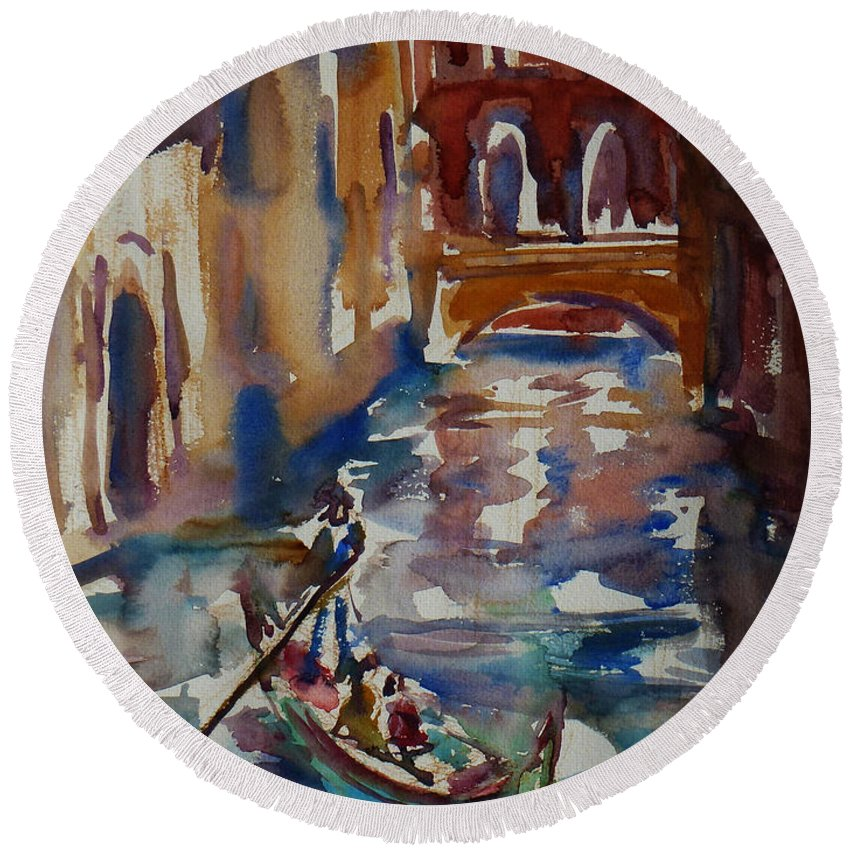 Venice Impression Round Beach Towel featuring the painting Venice Impression V by Xueling Zou