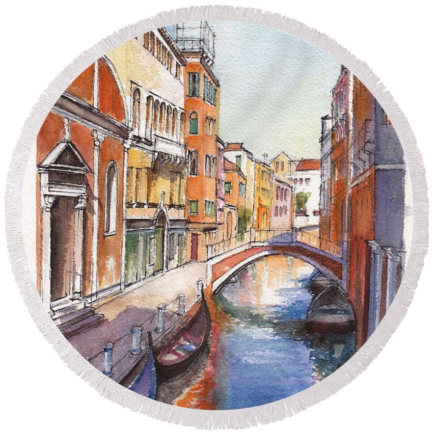 Venice Round Beach Towel featuring the painting Venice In Spring by Dai Wynn