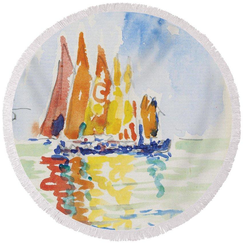 Paul Signac Round Beach Towel featuring the painting Venice by Paul Signac