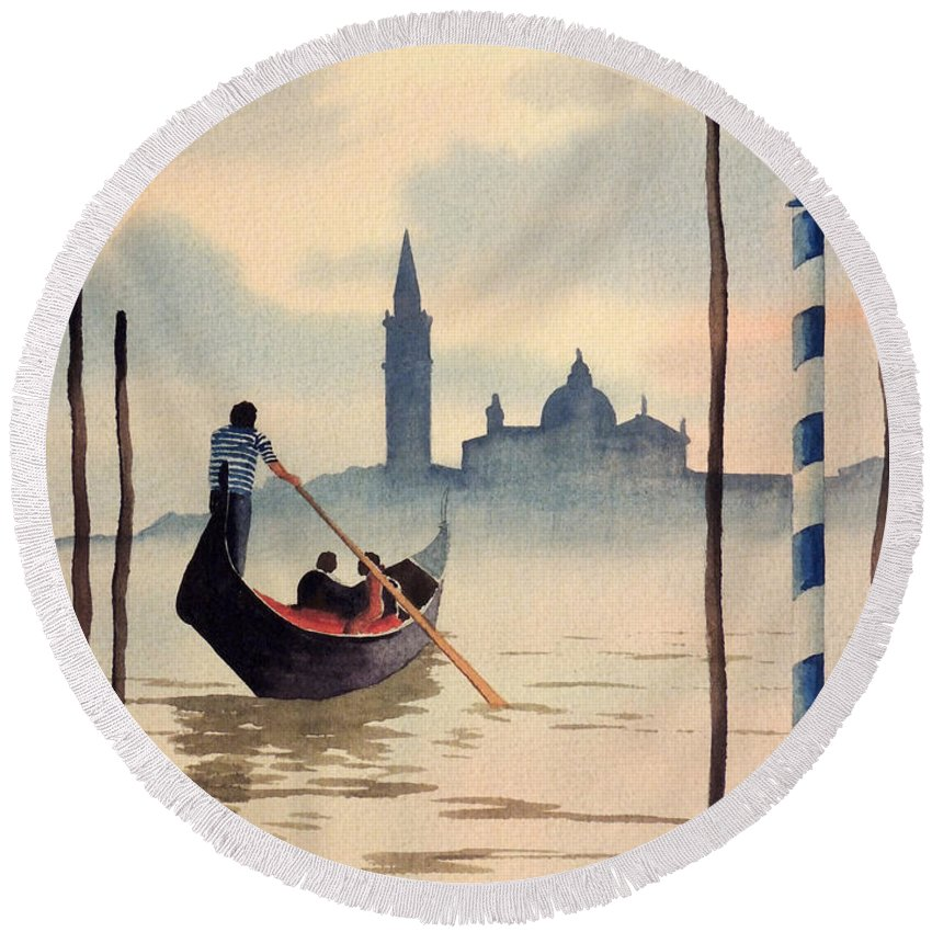 Venice Round Beach Towel featuring the painting Venice San Giorgio Island by Bill Holkham