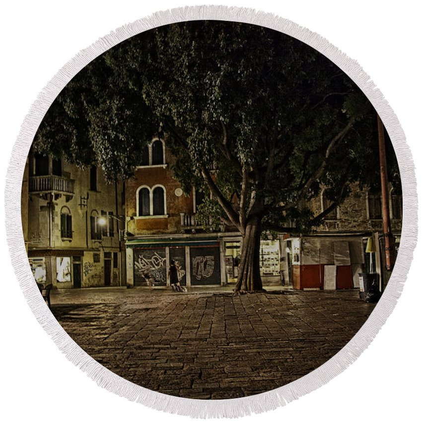 Venice Round Beach Towel featuring the photograph Venice Square At Night by Madeline Ellis