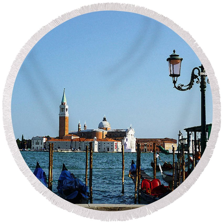 Italy Round Beach Towel featuring the photograph Venice View On Basilica Di San Giorgio Maggiore by Irina Sztukowski