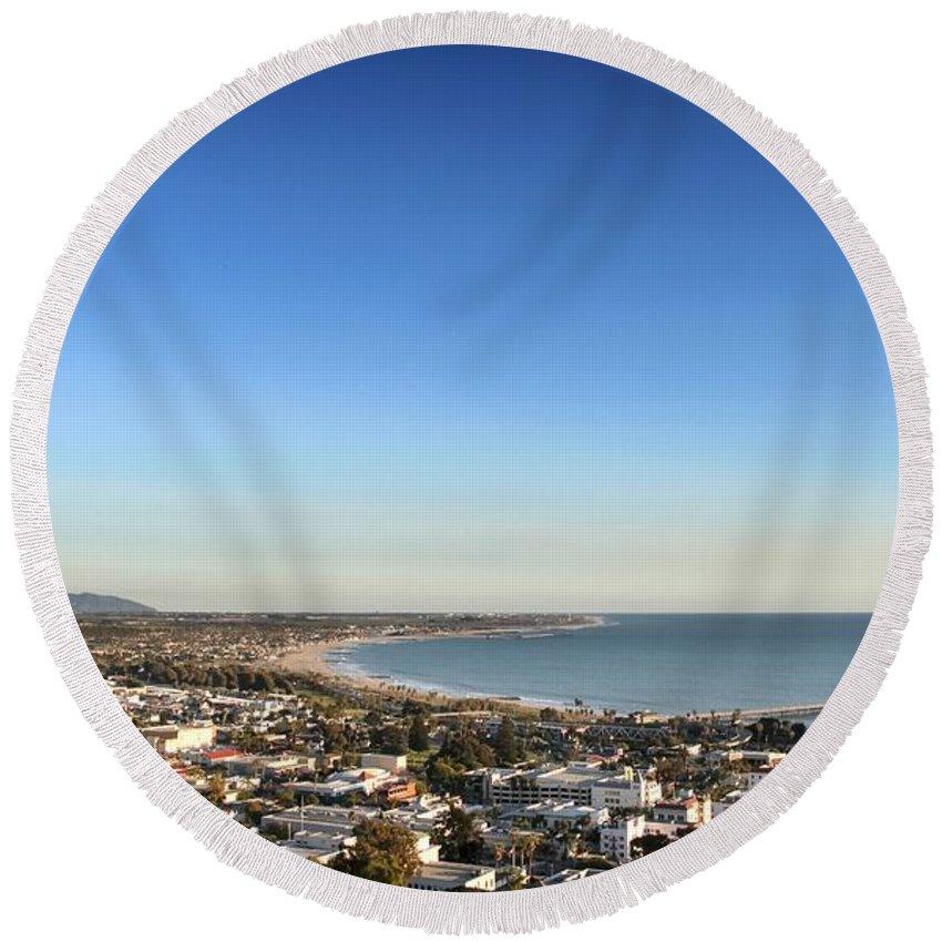 Ventura Round Beach Towel featuring the photograph Ventura Skyline by Henrik Lehnerer