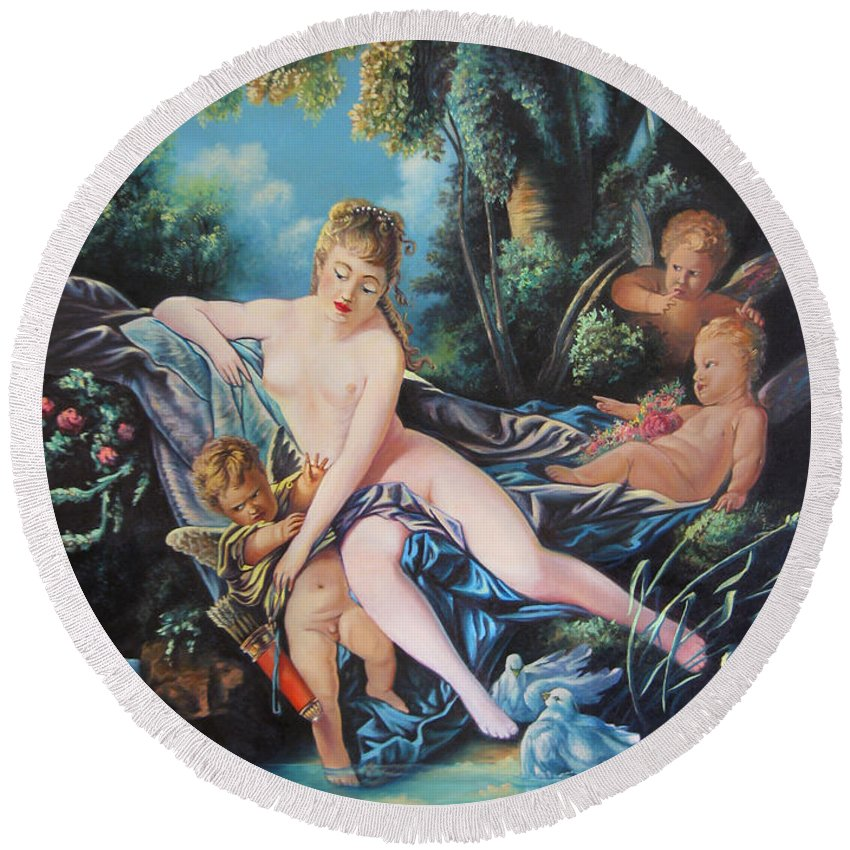 Cupid Round Beach Towel featuring the painting Venus Disarming Cupid by Matthew Pinkey