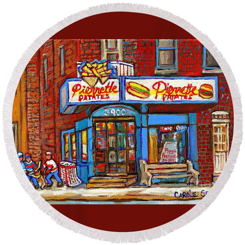 Verdun Round Beach Towel featuring the painting Verdun Famous Restaurant Pierrette Patates - Street Hockey Game At 3900 Rue Verdun - Carole Spandau by Carole Spandau