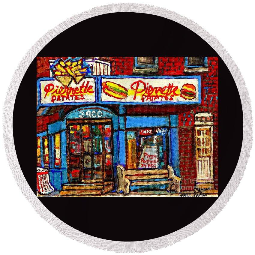 Verdun Round Beach Towel featuring the painting Verdun Restaurants Pierrette Patates Pizza Poutine Pepsi Cola Corner Cafe Depanneur - Montreal Scene by Carole Spandau