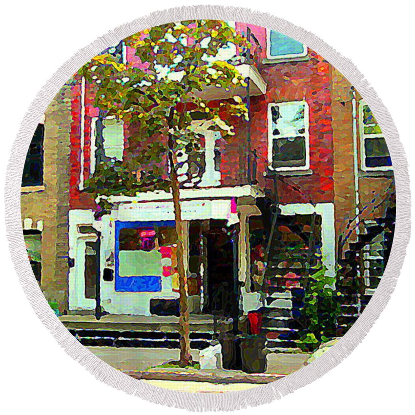 Montreal Round Beach Towel featuring the painting Verdun Variety Store Summer Street Scene Montreal Depanneur Double Staircases Carole Spandau by Carole Spandau
