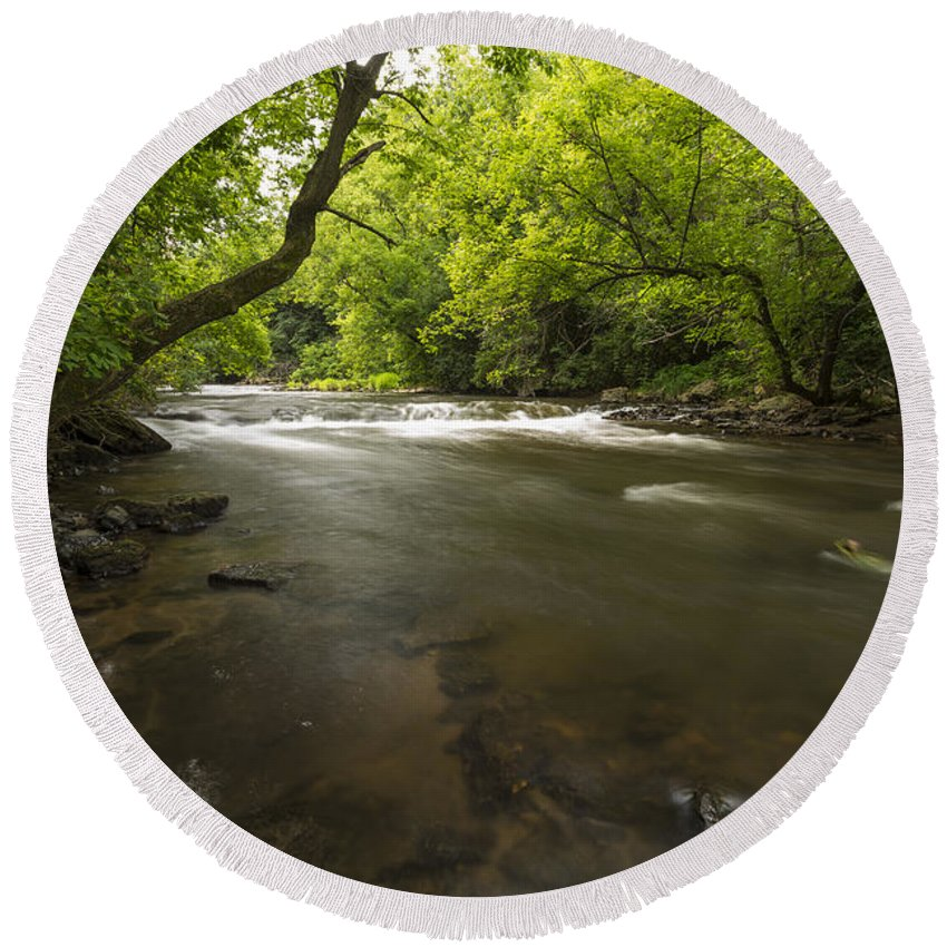 Rapids Round Beach Towel featuring the photograph Vermillion River 1 by John Brueske