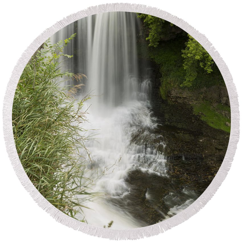 Waterfall Round Beach Towel featuring the photograph Vermillion River Falls 1 by John Brueske