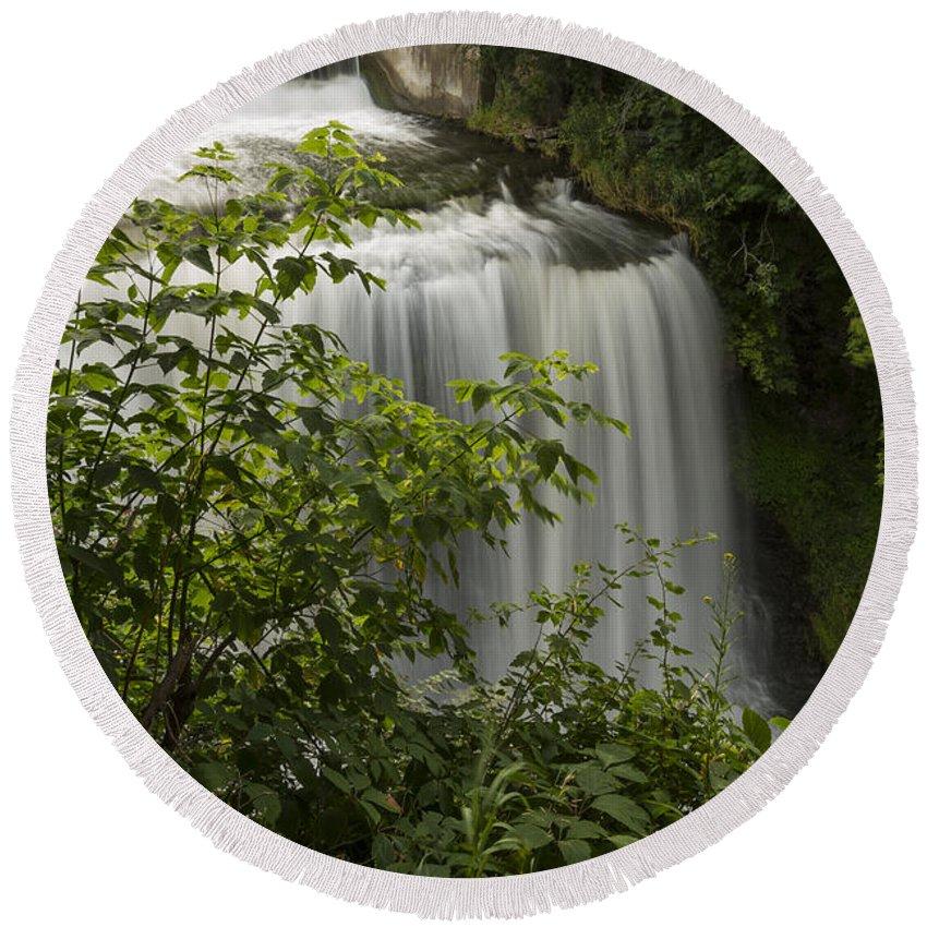 Waterfall Round Beach Towel featuring the photograph Vermillion River Falls 2 A by John Brueske