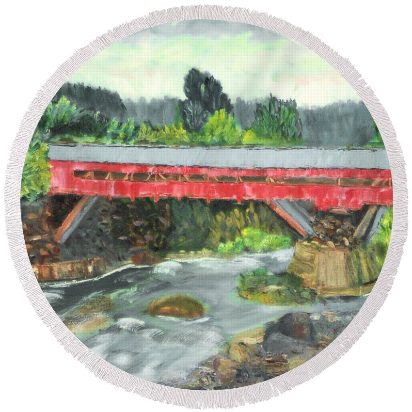Covered Bridge Vermont Water Stream River Rapids Tree Sky Rock Round Beach Towel featuring the painting Vermont Covered Bridge by Michael Daniels