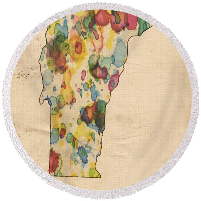 Vermont Round Beach Towel featuring the painting Vermont Map Vintage Watercolor by Florian Rodarte