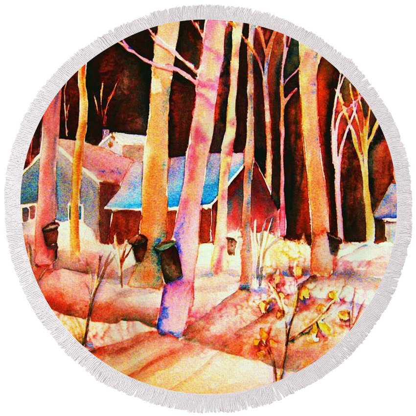 Montreal Round Beach Towel featuring the painting Vermont Maple Syrup by Carole Spandau