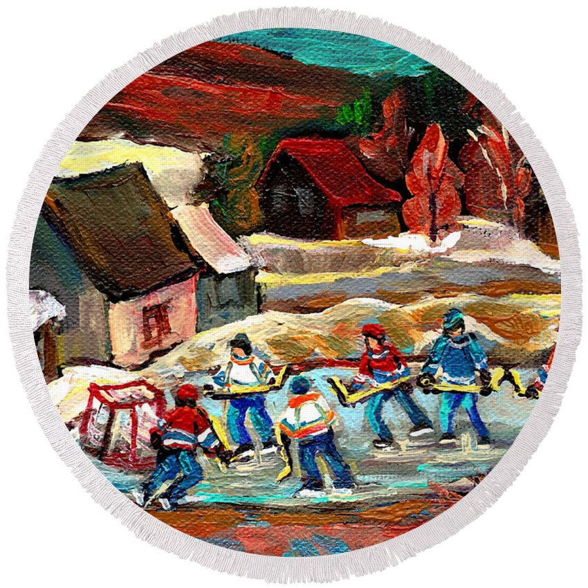Vermont Round Beach Towel featuring the painting Vermont Pond Hockey Scene by Carole Spandau