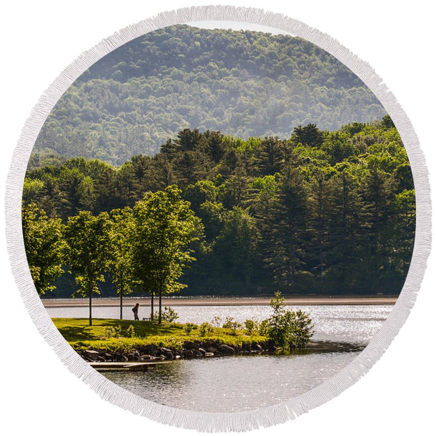Lake Round Beach Towel featuring the photograph Vermonts Lake Fairlee by Sherman Perry