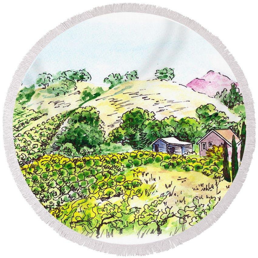 Wine Round Beach Towel featuring the painting Viano Winery Martinez California by Irina Sztukowski